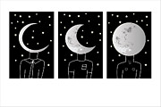 Man On The Moon Posters - Phases of the Moon Poster by Andrea Jeckering