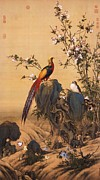 On Silk Paintings - Pheasant and Flowers by Pg Reproductions