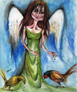 Angelic Drawings - Pheasant Angel by Angel  Tarantella