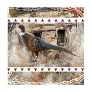 Outside Mixed Media Framed Prints - Pheasant Design Framed Print by Bob Salo