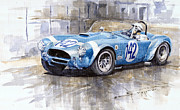 Ford Watercolor Framed Prints - Phil Hill AC Cobra-Ford Targa Florio 1964 Framed Print by Yuriy Shevchuk