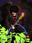 Bass Player Drawings Posters - Phil Lynott of Thin Lizzy Poster by Kev Moore