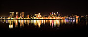 Philadelphia Digital Art Metal Prints - Philadelphia at Night from the Delaware River Metal Print by Bill Cannon