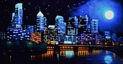 Wall Murals Painting Originals - Philadelphia Black Light by Thomas Kolendra