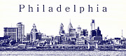 Philadelphia Skyline Photos - Philadelphia Blueprint  by Olivier Le Queinec
