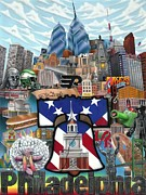 Ben Franklin Paintings - Philadelphia by Brett Sauce