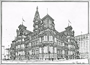 City Streets Drawings Prints - Philadelphia City Hall 1911 Print by Ira Shander