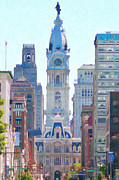 Philadelphia Digital Art Metal Prints - Philadelphia City Hall 20130703 Metal Print by Wingsdomain Art and Photography