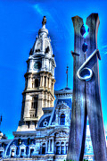 Philadelphia City Hall Framed Prints - Philadelphia City Hall and Clothespin Framed Print by Constantin Raducan