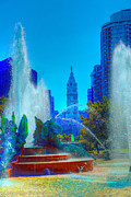 Philadelphia City Hall Framed Prints - Philadelphia City Hall and Swan Fountain 2  Framed Print by Constantin Raducan