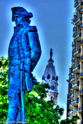 Philadelphia City Hall Framed Prints - Philadelphia -City Hall and Thaddeus Kodcenko statue Framed Print by Constantin Raducan