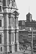 Philadelphia City Hall Framed Prints - Philadelphia City Hall and Wanamaker Store c 1900 Vintage Photog Framed Print by A Gurmankin