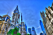 Philadelphia City Hall Framed Prints - Philadelphia -City Hall Masonic Temple and surrounding skyscrapers Framed Print by Constantin Raducan
