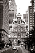 Downtown Posters - Philadelphia City Hall Poster by Olivier Le Queinec