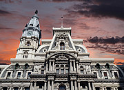 Philadelphia City Hall Framed Prints - Philadelphia City Hall Sunset Framed Print by Trekkerimages Photography