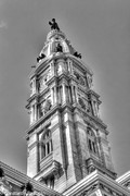 Philadelphia City Hall Framed Prints - Philadelphia City Hall Tower BW Framed Print by Constantin Raducan