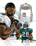 Sport Artist Framed Prints - Philadelphia Eagles Legend Brian Dawkins Framed Print by David E Wilkinson