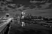 Philadelphia Prints - Philadelphia From South Street At Night in Black and White Print by Bill Cannon