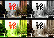 Love Statue Prints - Philadelphia Love Collage Print by John Rizzuto