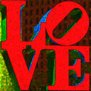 Love Statue Prints - Philadelphia LOVE - Painterly v1 Print by Wingsdomain Art and Photography