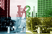 Love Statue Prints - Philadelphia Love Quad Colors Print by John Rizzuto