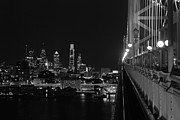 Ben Franklin Bridge Prints - Philadelphia night b/w Print by Jennifer Lyon