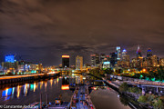 South Philadelphia Prints - Philadelphia  nightime cityscape from South St Bridge 1 Print by Constantin Raducan