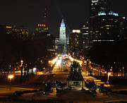 Benjamin Franklin Parkway Prints - Philadelphia Nighttime Print by Bill Cannon