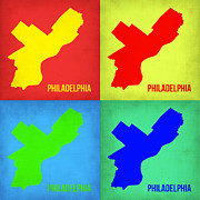 World Map Digital Art Metal Prints - Philadelphia Pop Art Map 1 Metal Print by Irina  March