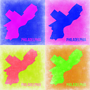 World Map Digital Art Metal Prints - Philadelphia Pop Art Map 2 Metal Print by Irina  March