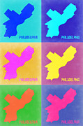 Philadelphia Mixed Media Metal Prints - Philadelphia Pop Art Map 3 Metal Print by Irina  March