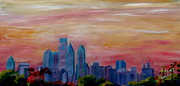 Philly Paintings - Philadelphia Skyline at Dusk by M Bleichner