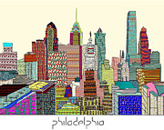 Philadelphia Skyline Digital Art Prints - Philadelphia skyline Print by Brian Buckley