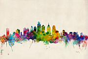 Urban Watercolor Digital Art Prints - Philadelphia Skyline Print by Michael Tompsett