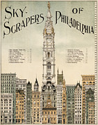 Philadelphia Scene Framed Prints - Philadelphia Skyscrapers Framed Print by Nomad Art And  Design