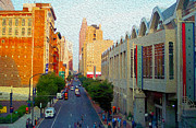 Philadelphia Mixed Media Prints - Philadelphia Street Late Evening Print by Garland Johnson