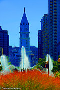 Philadelphia City Hall Framed Prints - Philadelphia-Swann Fountain and City Hall Framed Print by Constantin Raducan