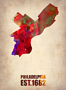 World Map Digital Art Metal Prints - Philadelphia Watercolor Map Metal Print by Irina  March