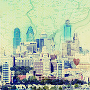 Vintage Map Mixed Media Posters - Philadelpiha in the Sky Poster by Brandi Fitzgerald