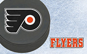 Puck Prints - Philadephia Flyers Print by Joe Hamilton
