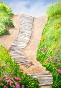 Beach Roses Posters - Philbin Beach Path Poster by Michelle Wiarda