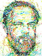 Watercolors Painting Originals - Philip K. Dick Watercolor Portrait by Fabrizio Cassetta