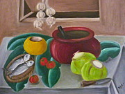 Pinoy Framed Prints - Philippine Still Life with Fish and Coconuts 2 Framed Print by Victoria Lakes