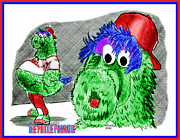Baseball. Philadelphia Phillies Drawings - Phillie Phanatic by Chris  DelVecchio