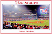 Citizens Bank Park Photo Framed Prints - Phillies Night Baseball Poster Image Framed Print by A Gurmankin