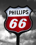 Gasoline Prints - Phillips 66 Shield Print by Steve Hurt
