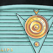 Mid Century Radio Framed Prints - Phillips Radio - aqua Framed Print by Larry Hunter