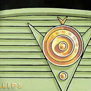 Mid Century Radio Framed Prints - Phillips Radio - green Framed Print by Larry Hunter