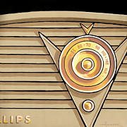 Mid Century Radio Framed Prints - Phillips Radio - tan Framed Print by Larry Hunter