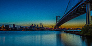 Philly Skyline Art - Philly and the Ben Franklin Bridge by David Hahn